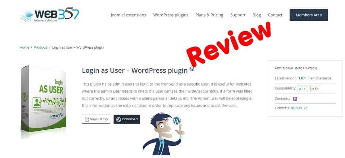 Login as User WordPress Plugin, Παρουσίαση